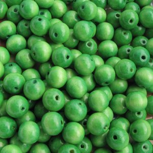 Wooden beads, green 6mm, 100 pcs
