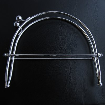 Purse frame, 15cm, steel color, smooth